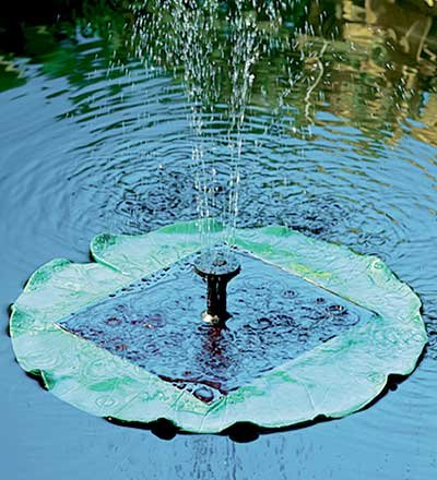 Solar-Powered Floating Lily Pad Fountain by Wind & Weather