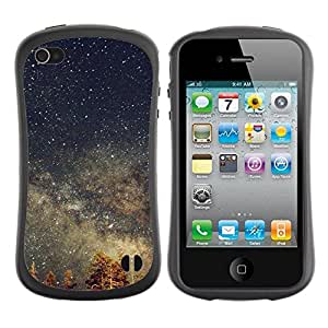 "Hypernova Slim Fit Dual Barniz Protector Caso Case Funda Para Apple iPhone 4 / iPhone 4S [Estrellas del cielo nocturno Tree Tops Galaxy""]"