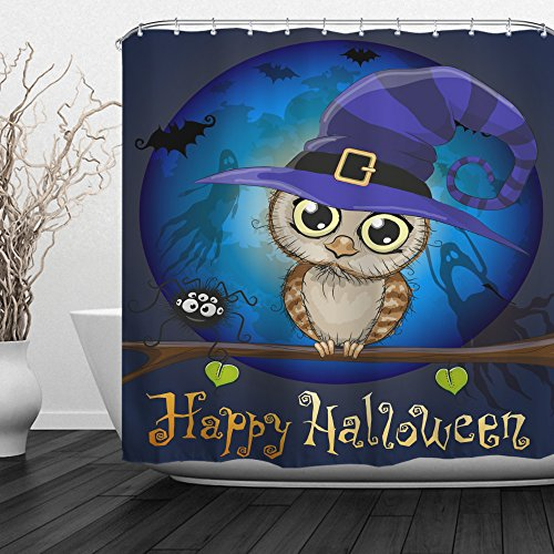 QiyI Halloween Shower Curtain Waterproof Machine Washable Made of 100% Polyester Fabric Easy to Rinse Off and Hang for Bathroom 72