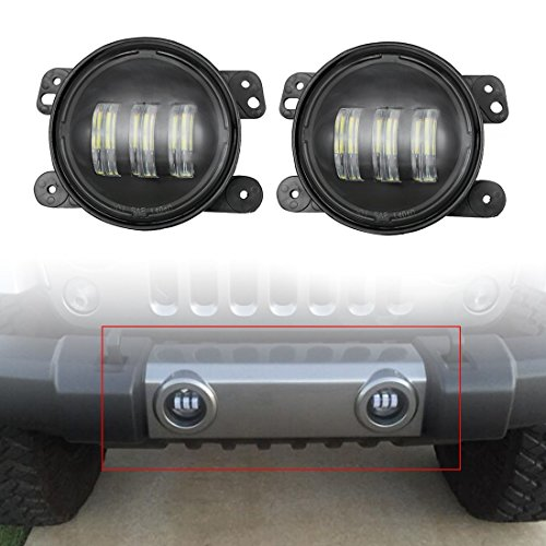 2pcs 4 Inch 30w Cree Led Fog Lights Len Projector for Jeep Tractor Boat Led Fog Lamps Bulb Auto Led Headlight Driving Offroad Lamp for Jeep Wrangler Dodge Chrysler Front Bumper (Projector Fog Light Lamp)