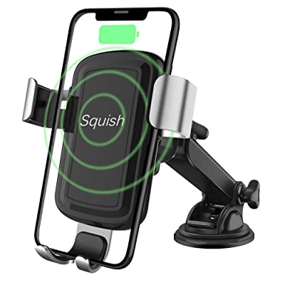 Squish Wireless Charger Car Phone Mount, Qi Wireless Car Charger, Wireless Charger Phone Holder Dashboard Windshield for iPhone, Samsung, Moto, Huawei, Nokia, LG, Smartphones [5Bkhe2012071]
