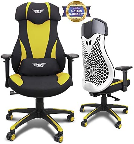 Gaming Chair Racing Office Chair,High Back Ergonomic PC Computer Gaming Chair with Lumbar Support and Adjustable Armrest Headrest Swivel Racing Video Game Chair for Adults,Hold on 300LBS Yellow