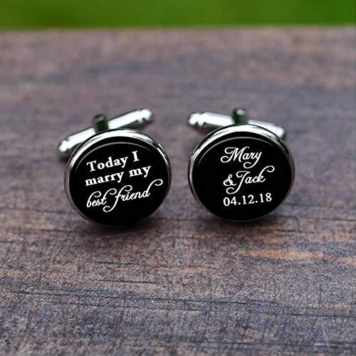 Bloody devil Wedding Cufflinks,Cufflinks, Custon Name and Date, Today i Marry My Best Friend, Wedding Day Gift, Groom Cufflinks, Unique Wedding tie Clips and Studs,Gift of Love