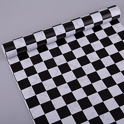 SimpleLife4U Black and White Checkered Shelf and Drawer Liner Peel & Stick Home Office Locker Sticker 17.7 Inch by 13 Feet