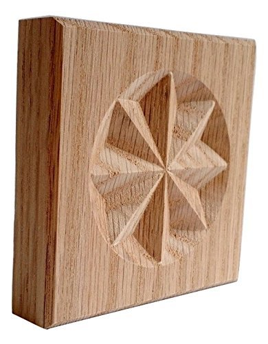 SET OF 4:Carved 8 Point Star Rosette Blocks, Made in USA (3.5''x3.5'' RED OAK)