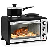 Andrew James Mini Oven with Electric Grill and Double Hotplate - Fast Heating 5 Cooking Functions, Toaster Ovens Roasting Baking Grilling & Reheating