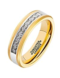HSG 18K Gold Plating Ring for Men Exquisite cubic zirconia Inlay Tungsten Carbide Band