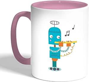 كوب سيراميك للقهوة، لون بنك، بتصميم رسوم كرتونية - روبوت عازف