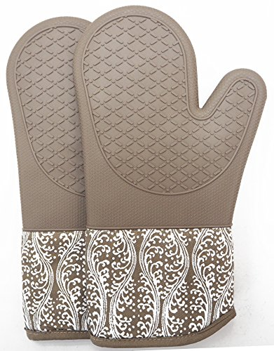 Glove Pot - DETA HOME Professional microwave silicone oven mitts one pair, kitchen lines set heat resistant 500 degrees, kitchen gloves pot holder BBQ cooking, baking, Grilling machine washable (brown)