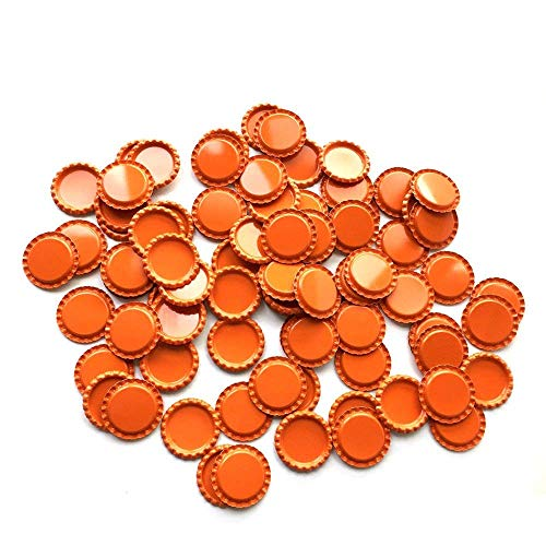 HAWORTHS 100 PCS Flat Decorative Bottle CaP Craft Bottle Stickers Double Sideds Printed for Hair Bows, DIY Pendants or Craft ScraPbooks Orange