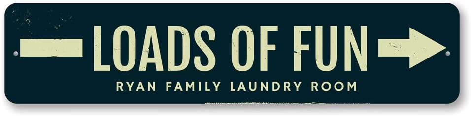 Personalized Loads of Fun Arrow Family Name Laundry Room Sign - 6 x 24 inches