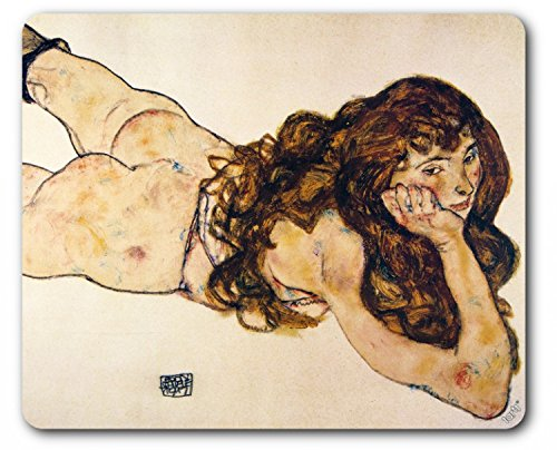 Egon Schiele Mouse Pad - Female Nude Lying On Her Stomach, 1917 (9 x 7 inches)