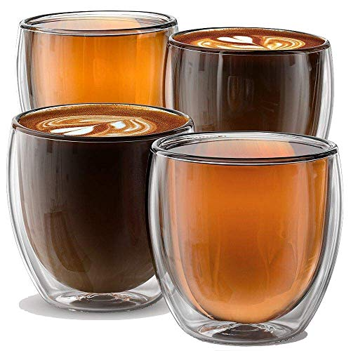 Stone & Mill Double Wall Insulated Glass Espresso Cups Set of 4, Glasses for Coffee, Latte, Lungo, or Americano, Milano Collection AM-01, 8.5 Ounce (Espresso Handle Cups No)