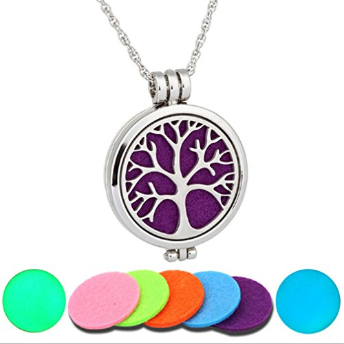 Dolland Aromatherapy Essential Oil Diffuser Necklace Adjustable Chain Hypo-allergenic Stainless Steel Pendant Locket Perfume Necklace Jewelry ,Tree of life