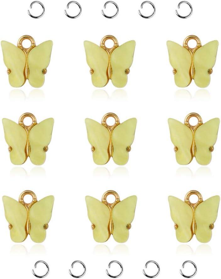 10Pcs Alloy Enamel Butterfly Charms Pendant Fit DIY Necklace Bracelet Jewelry