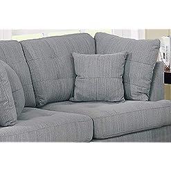 Farmhouse Living Room Furniture Bobkona 2-Pcs Sofa & Loveseat Grey farmhouse sofas and couches