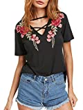 MakeMeChic Women's Sexy Cross Front V Neck Floral Embroidery Casual Tee T Shirt Black M