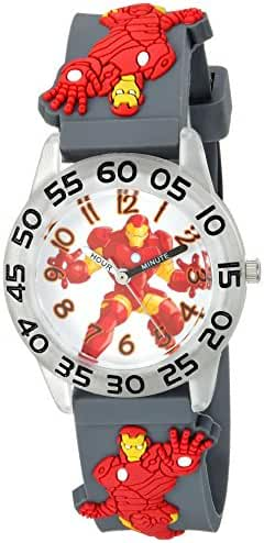 Marvel Boy's 'Iron Man' Quartz Plastic and Silicone Casual Watch, Color:Grey (Model: WMA000036)