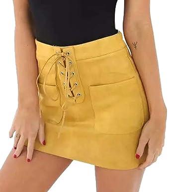 A. M. Sport Minifalda de Mujer Sexy. Falda Efecto Piel de ...