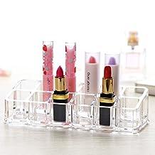 DREAM ROCA 12 Grid Lipstick Display Stand Transparent Makeup Organizers Sample Holder
