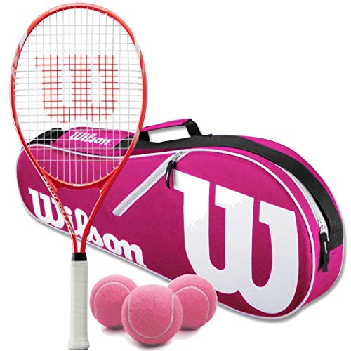 Wilson Envy XP Lite Tennis Racquet (4 1/4 Grip) Set or Kit Bundled with a Pink/White Advantage 2-Pack Tennis Racket Bag and a Can of Tennis Balls