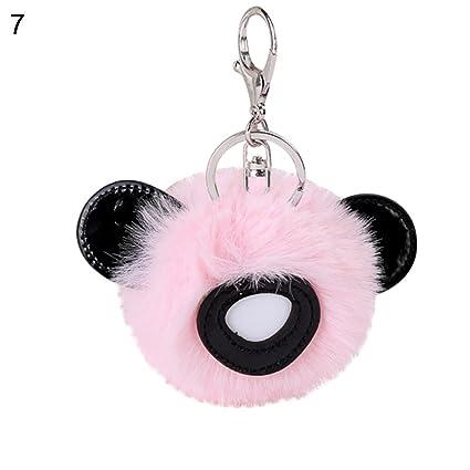 Amazon.com  prettDliJUN Cute Panda Ears Pompom Car Keys Holder ... 00164e513b