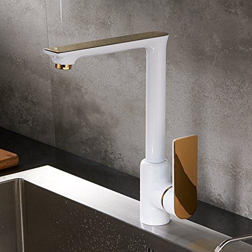 AWXJX Der minimalistische Stil Küche Rotation Weiß Farbe wasserhahn