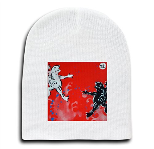 Black and White Frogs Mural Yuya Negishi YUYART - White Adult Beanie Skull Cap Hat (Mural Frog)