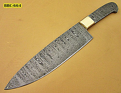 (Poshland BBC-664, Handmade Damascus Steel 12 Inches Full Tang Chef Knife with Brass Bolster - Best Quality Blank Blade)