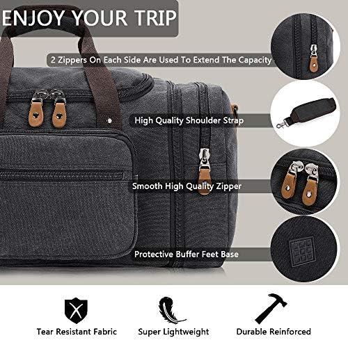 Plambag Canvas Duffle Bag for Travel, 50L Duffel Overnight Weekend Bag(Dark Gray)