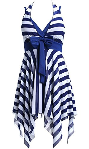 Women's Nautical Sailor Stripes One Piece Swim Dress Swimwear Navy