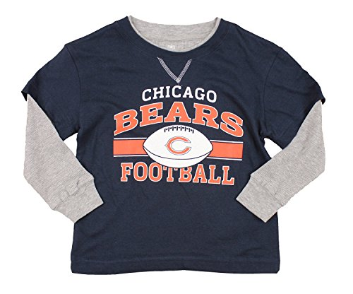 Outerstuff Chicago Bears NFL Kids Little Boys Long Sleeve Faux Layered Shirt, Navy (Small (4)) ()