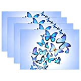 Blue Butterfly Colorful Drawing Art Beautiful Print Placemats, ALIREA Heat-resistant Placemats Stain Resistant Anti-skid Washable Polyester Table Mats Non Slip Washable Placemats, 12''x18'', Set of 6