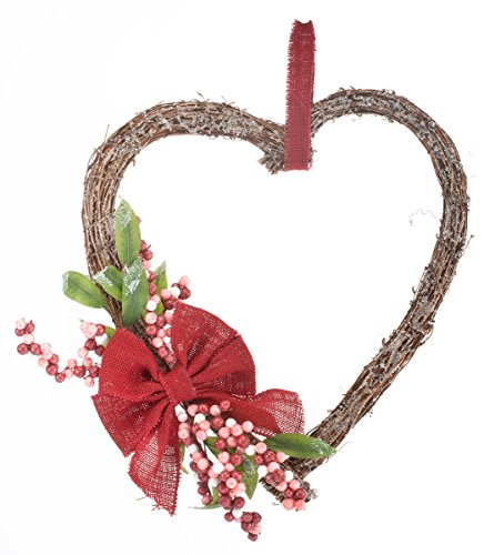 Miles Kimball Heart Grapevine Wreath with Flowers by Miles Kimball