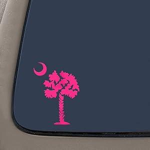 Palmetto Tree South Carolina Decal | Premium Quality Pink Vinyl Decal | 5.5-Inches | Car Truck Van SUV Macbook Laptop Vinyl Decal | NI666