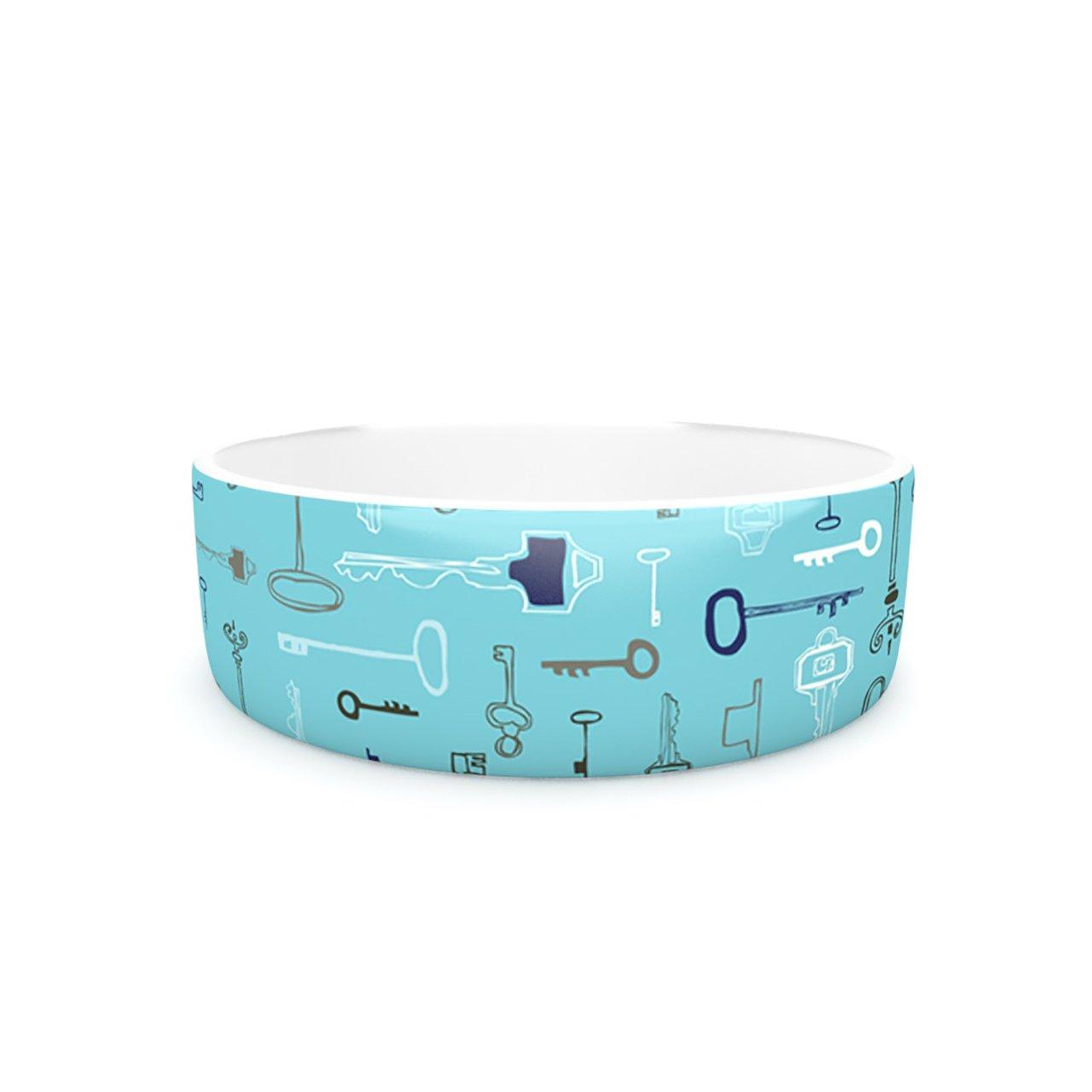 Kess InHouse Laurie Baars Keys bluee Pet Bowl, 7-Inch, Aqua