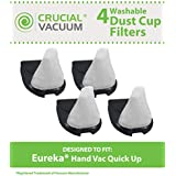 4 Washable & Reusable DCF-11 Style Filters for Eureka Quick Up & RapidClean Vacuums; Compare to Eureka Part Nos. 39657, 62558A