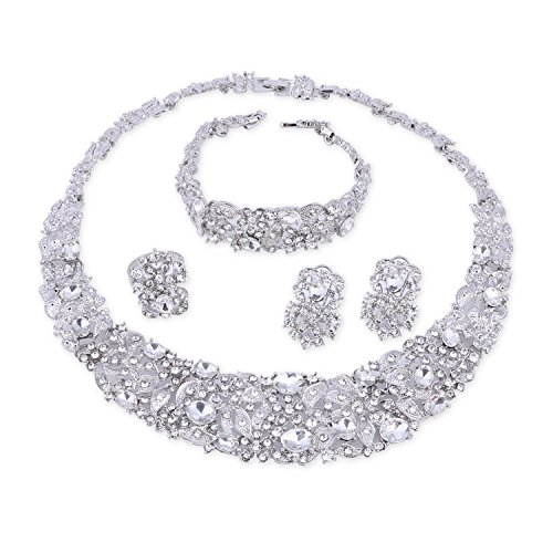 OUHE White Crystal Chain Necklace Ring Bracelet Jewelry Set Costume Show Wedding Silver Plated