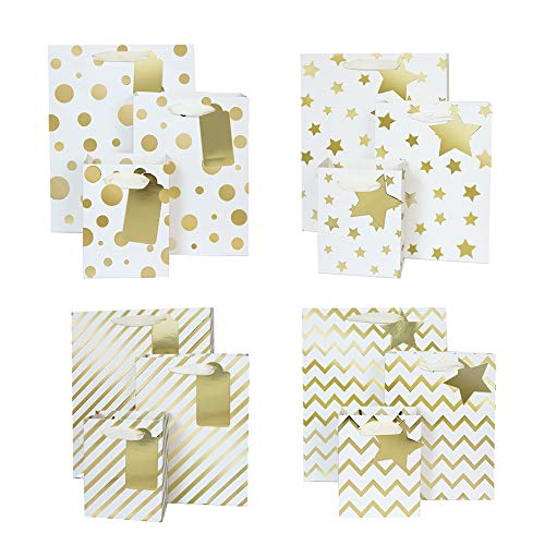UNIQOOO 12Pcs Premium Gold Metallic Gift Bags Bulk,Assorted Size,100% Recyclable Paper Retail Shopping Bags, for Wedding Favor, Baby Shower, Birthday Party,Christmas Holiday Gift Bag