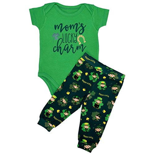 Unique Baby Boys 1st ST Patricks Day Moms Lucky Charm Layette Set (12 Months) (Patricks Charm Day Lucky)