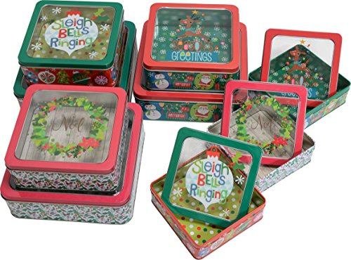 Christmas Nesting Tins with window for cookie, candy or other gifts, square shape, 3 sets of 3, 9 tins included; bulk variety pack