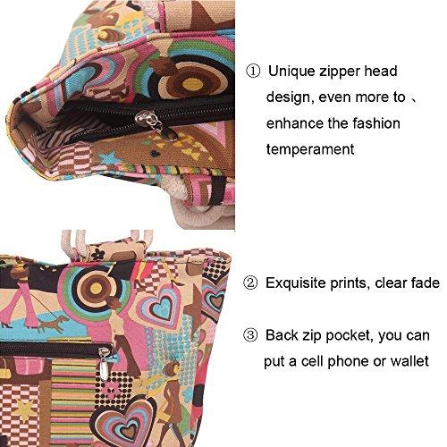 Anne - Bolso estilo cartera de Lona para mujer negro Soil leopard verde y flor