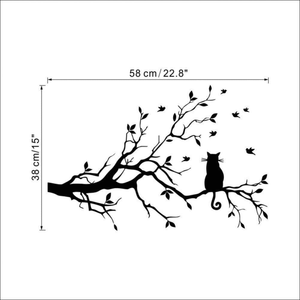 Gato en una rama de árbol pájaros etiqueta de la pared vinilo arte calcomanía ventana calcomanía plantilla para niños decoración de la habitación color negro 38x58 cm