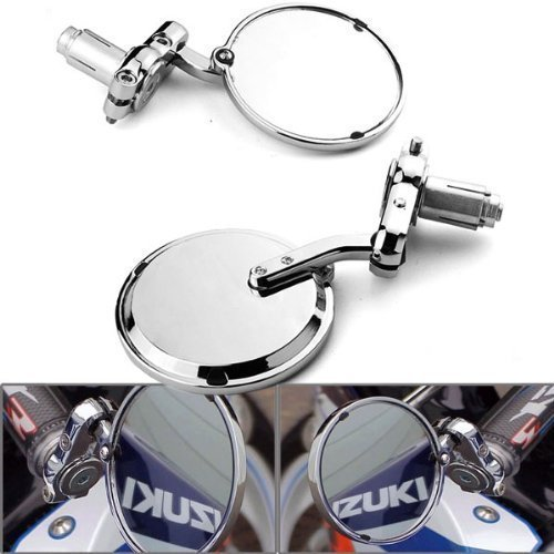 DLLL 7/20,3cm Guidon Moto universel Aluminium Chrome Bar End de rétroviseur côté Miroir Compatible avec la plupart des Harley Davidsons, Suzuki, Honda, Kawasaki Cruiser, Touring, vélos Sport Vélo, Cafe Racer, scooter