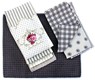 8 Piece Kitchen Towels and Dish cloths Gift Set: Four Terry Dish Towels 100% Cotton, Three Woven Cotton Tea Towels, and a Large Microfiber Dish Drying Mat, Extra Absorbent (set of 8)