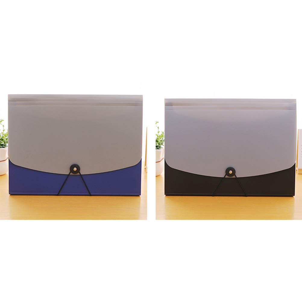 STOBOK 13-Pocket Expanding File Folders A4 Accordion Document Paper Organizer for School Teacher and Office,1pcs Blue