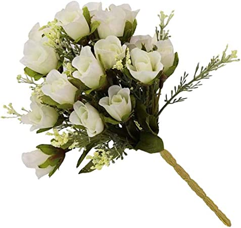 Flushzing Artificial Flower Buds Bouquet Living Room Bedroom Fake Flower Bouquet Floral Decor Wedding Party Fake Flower White Amazon Co Uk Kitchen Home
