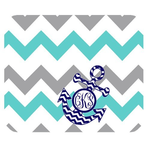 1 X Turquoise Gray Chevron Zigzags Pattern & Navy Anchor Monogram Personalized Custom Mouse Pad