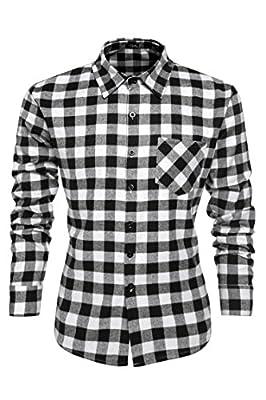 Gotchicon Men Casual Button Down Shirt Long Sleeve Plaid Dress Shirts Multi-Colors