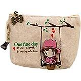 Buytra New Cute Japanese Girl Print Canvas Phone Bag Double Zipper Purse Coin Bag